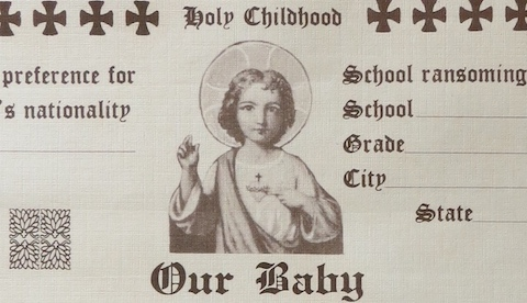 Fig 1. Detail from Holy Childhood Baptism certificate, c. 1940