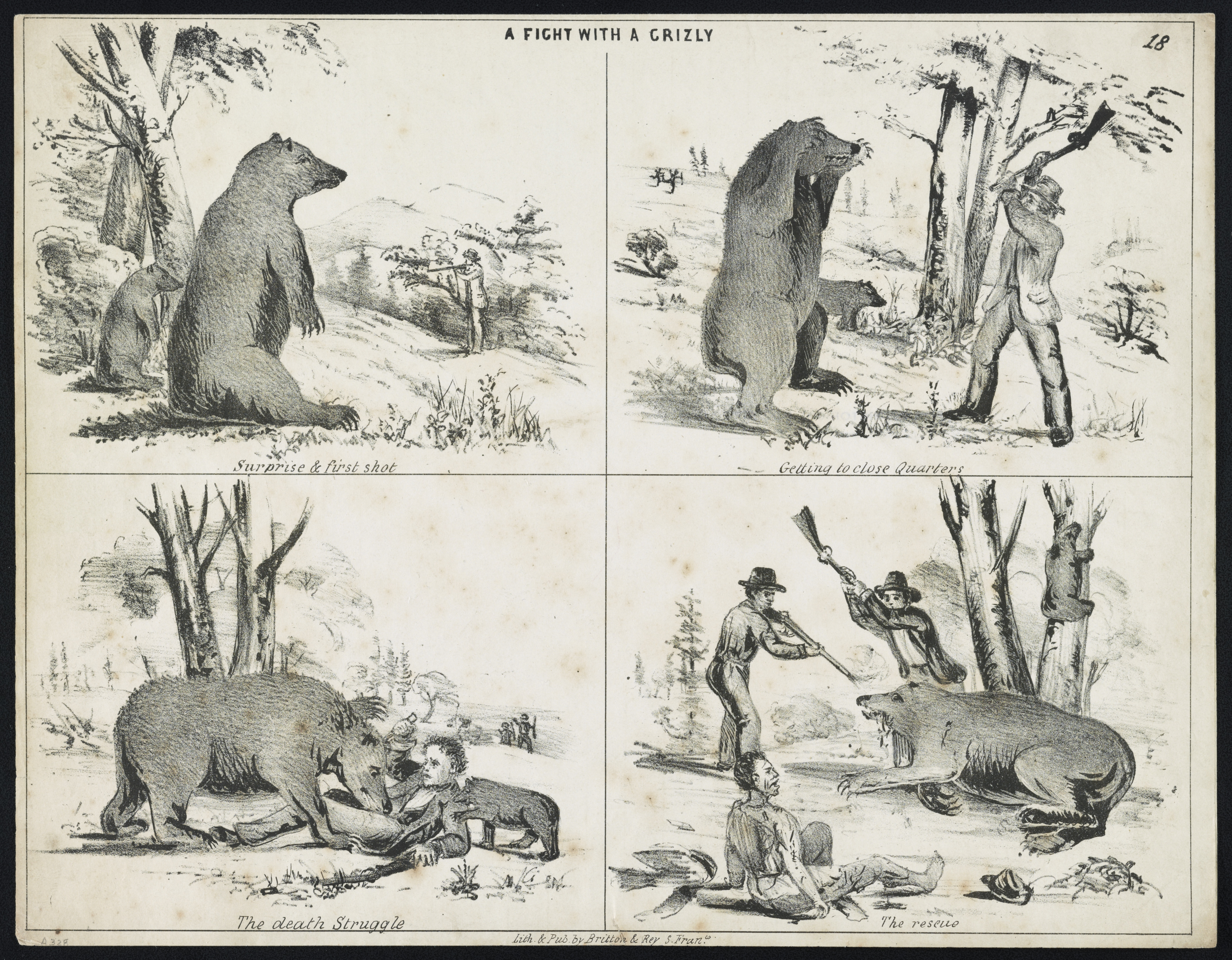"Figure 4: ""A Fight with a Grizly [i.e. Grizzly],"" Lithograph Print, 20.8 x 26.8 cm, Published by Britton & Rey, San Francisco, between 1850-1860. Source: U.S. Library of Congress."